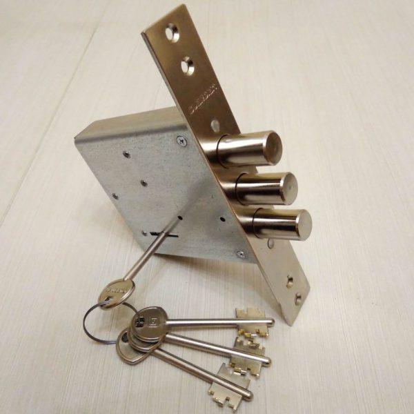 Гардиан врезной 3-ригельный сувальдный, 4 ключа